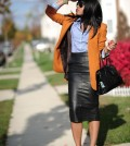 leather skirt with blazer