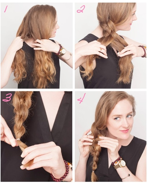 messy side braids steps