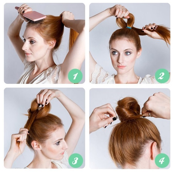 steps for sleek top bun